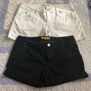Two pair black & white YMI shorts!